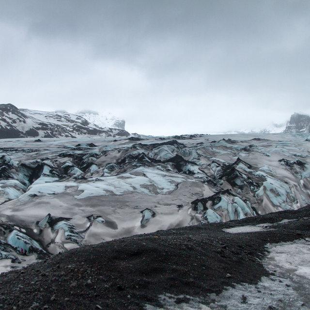 The Sólheimajökull glacier terminus of the Mýrdalsjökull glacier.