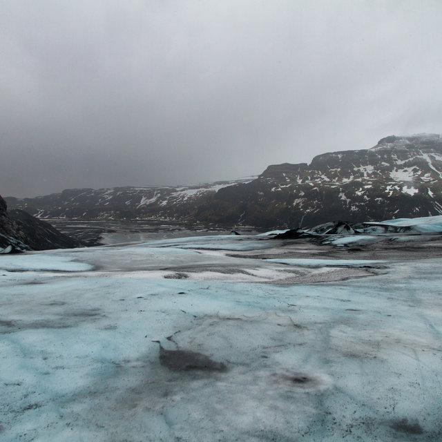 View from the Sólheimajökull glacier terminus into the valley it once occupied.