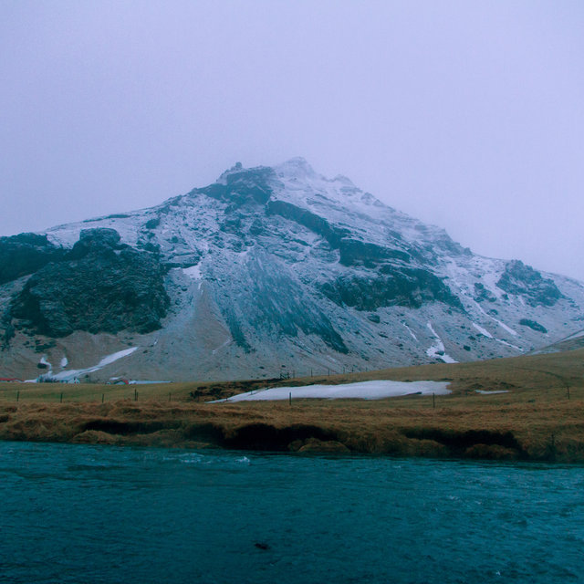 Mountain near the Skógafoss waterfall.