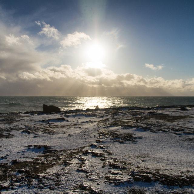 View over the ocean at Reykjanesviti.