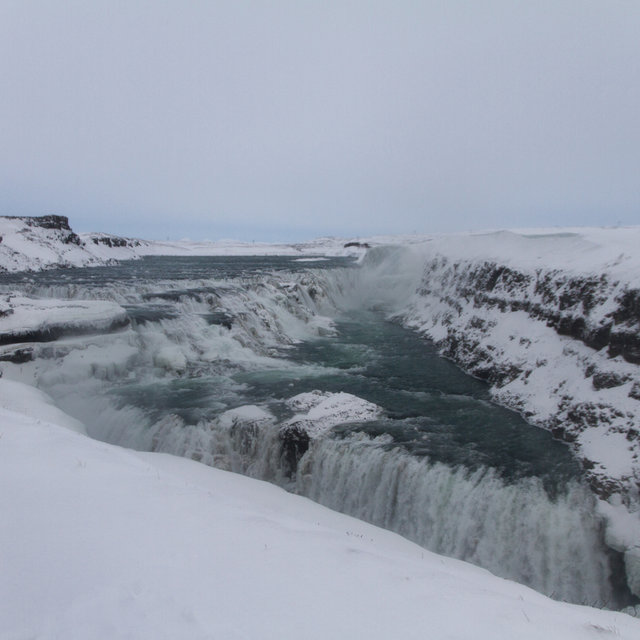 View over the Gullfoss waterfall.