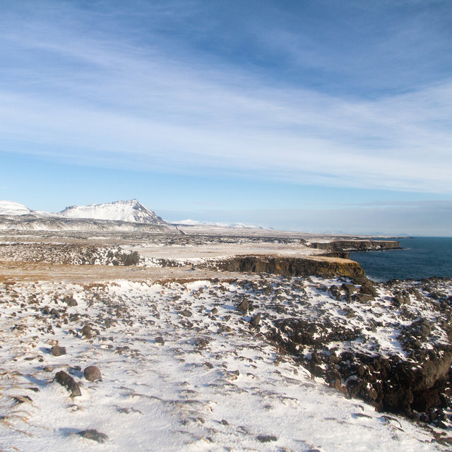 View along the coast on the westernmost end of the Snæfellsnes peninsula.