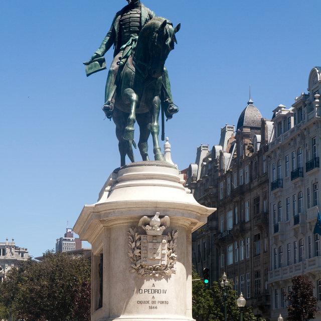 Statue of Pedro IV on Liberdade Square in Porto.