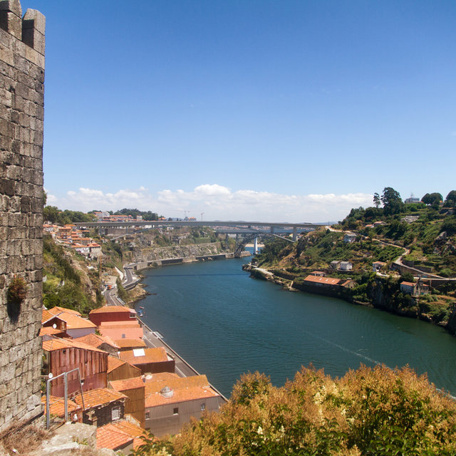 Upstream view of the River Douro from the Dom Luís I Bridge.