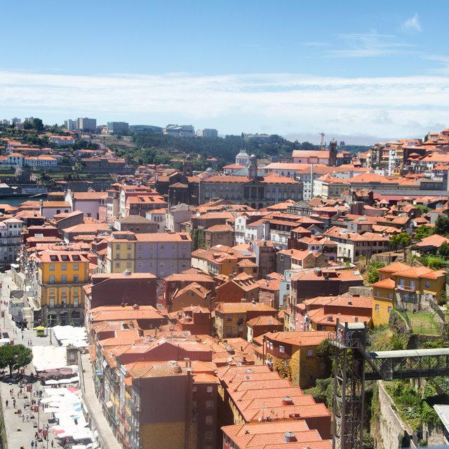 View from the Dom Luís I Bridge onto the Ribeira quarter in Porto.