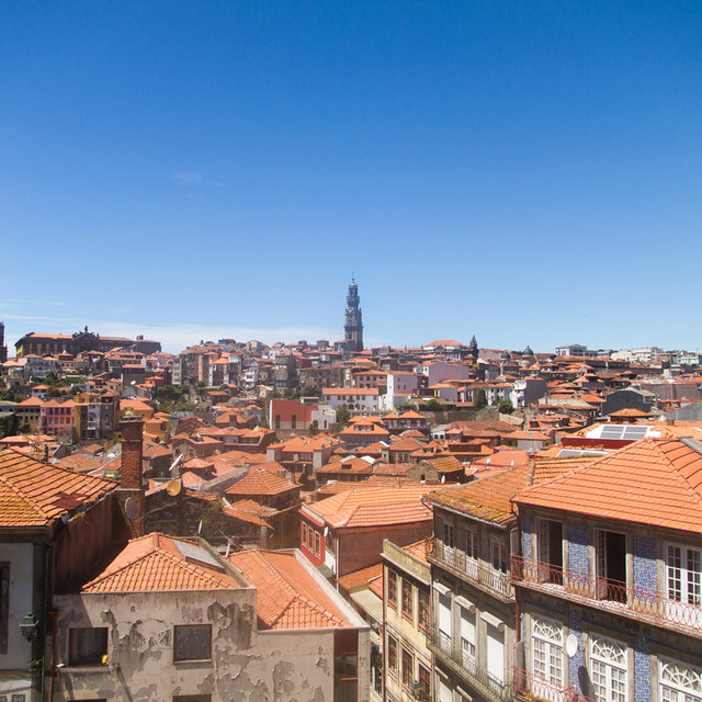 View over the roofs of Porto towards the tower of the Clérigos Church.