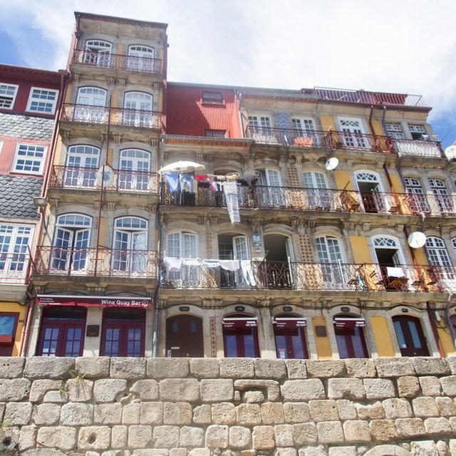 Façade of houses in the Ribeira quarter in Porto.