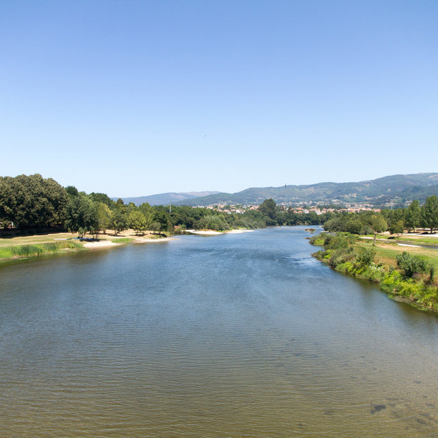 Upstream view of the River Limia from the Limia bridge.