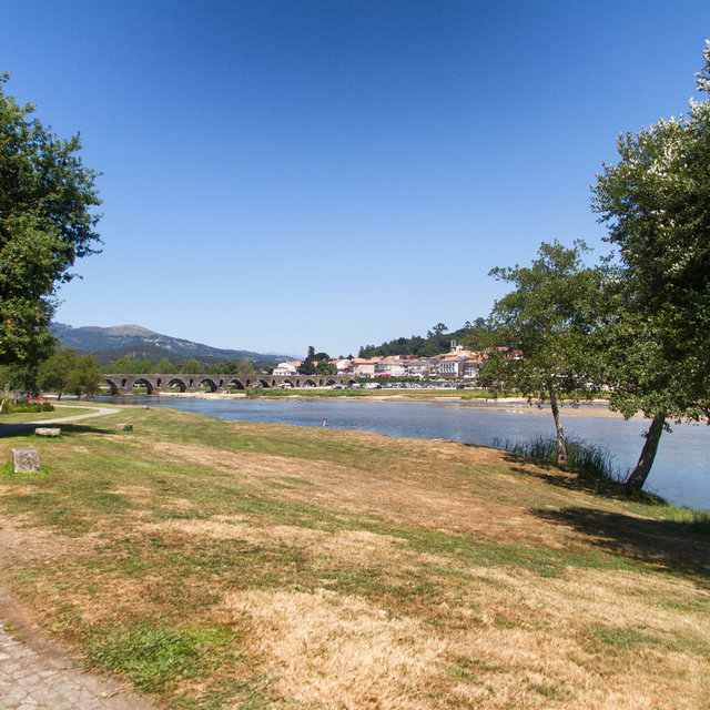 View from the banks of the River Limia towards the Lima bridge.