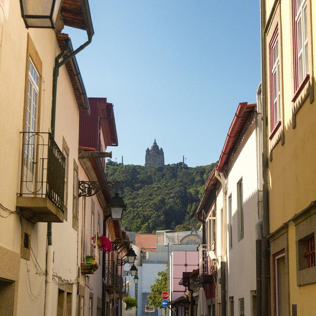 The Church of Santa Luzia seen from the streets of Viana do Castelo.
