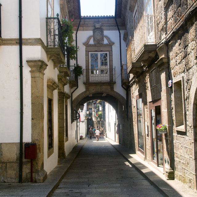 View along a small street in old town of Guimarães.
