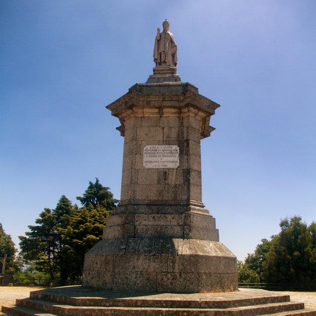 Statue of Pope Pius IX on Mount Penha in Guimarães.
