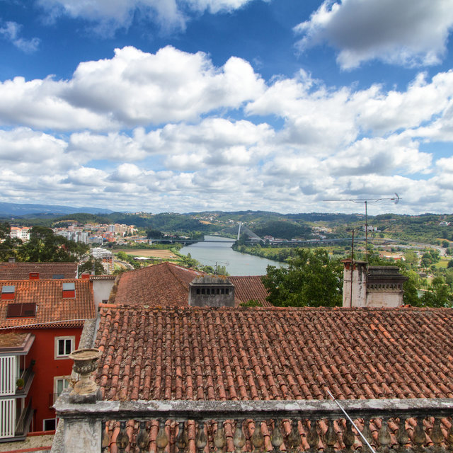 View from the courtyard of the University of Coimbra towards the Mondego River.