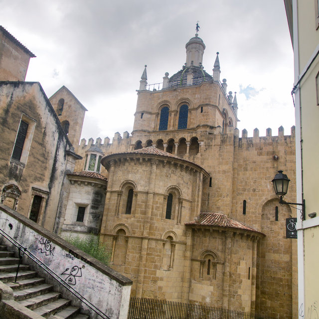 Rear view of the Old Cathedral of Coimbra.