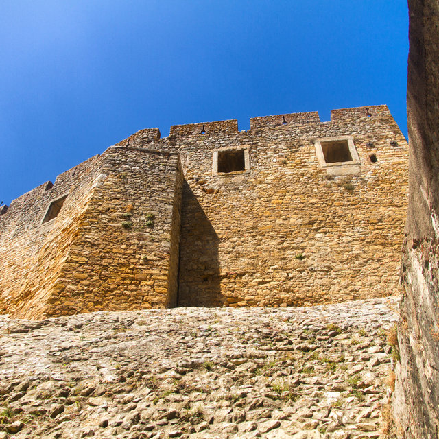 View up the wall of the castle of the Convent of Christ.