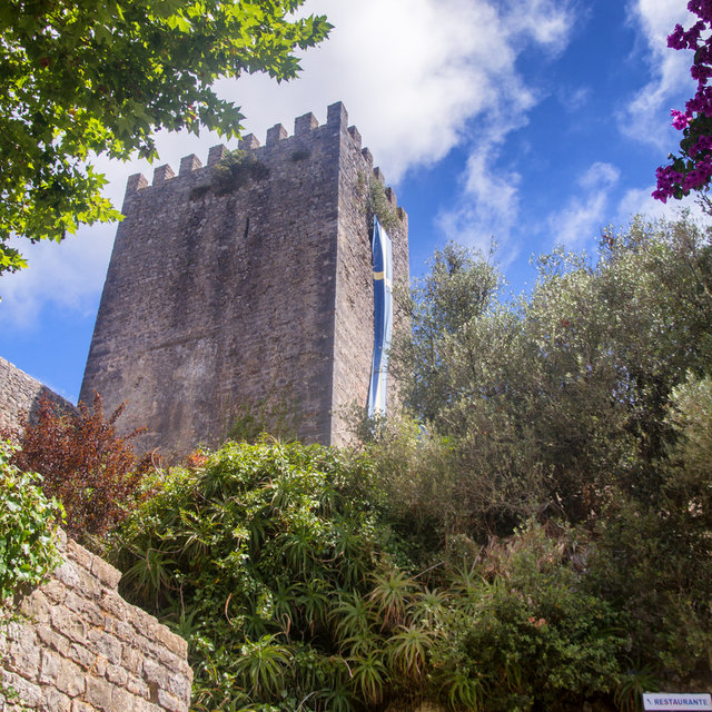 View up a tower of the Castle of Óbidos.