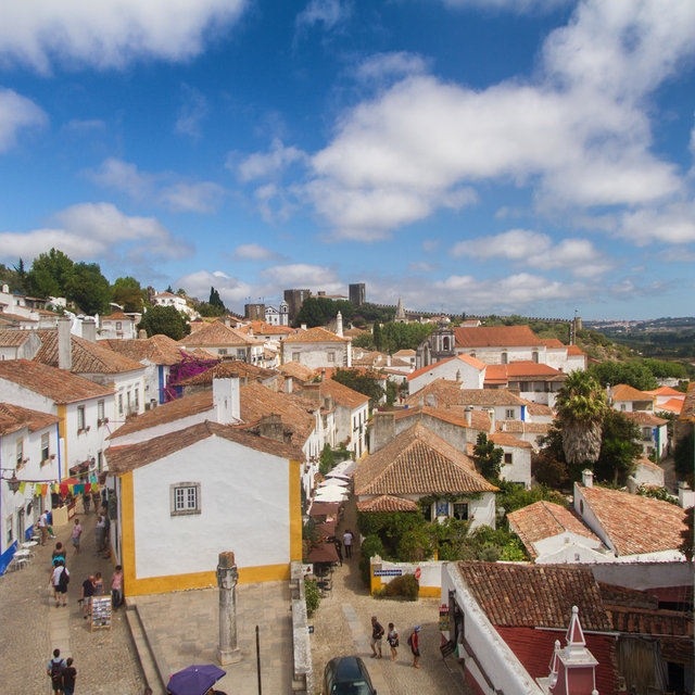 View from the city wall over the roofs of Óbidos.