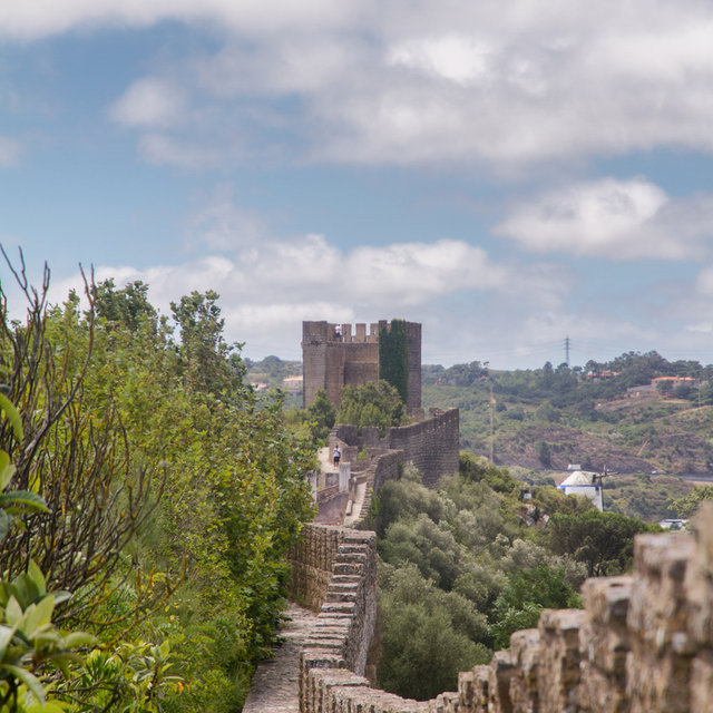 View along the city wall of Óbidos.