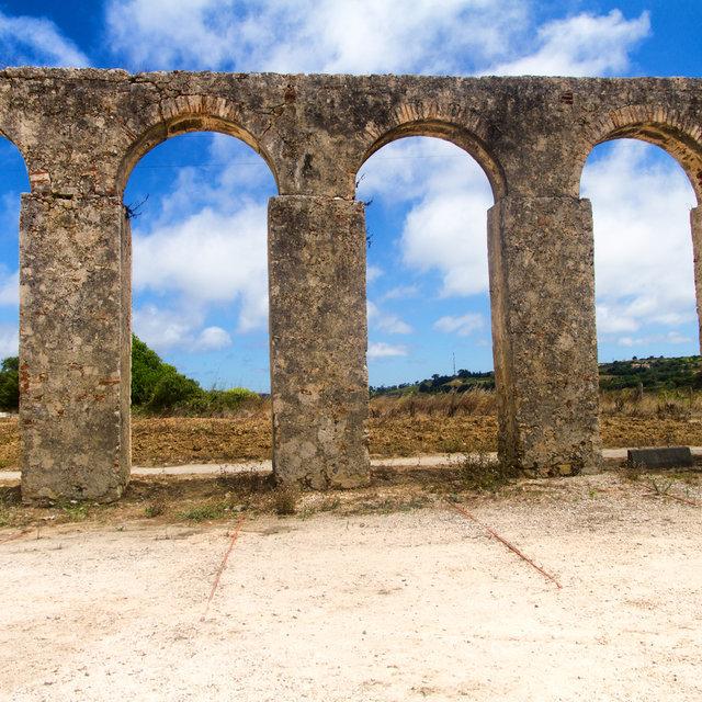 An ancient aqueduct in Óbidos.