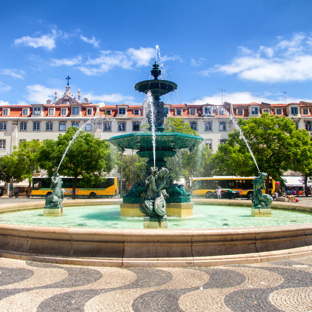 A fountain on Rossio Square in Lisbon.
