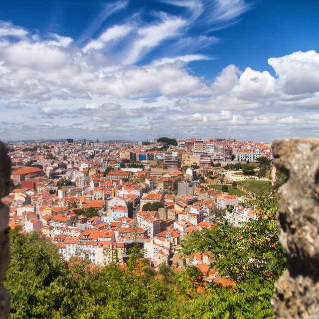 View from the São Jorge Castle over the roofs of Lisbon.