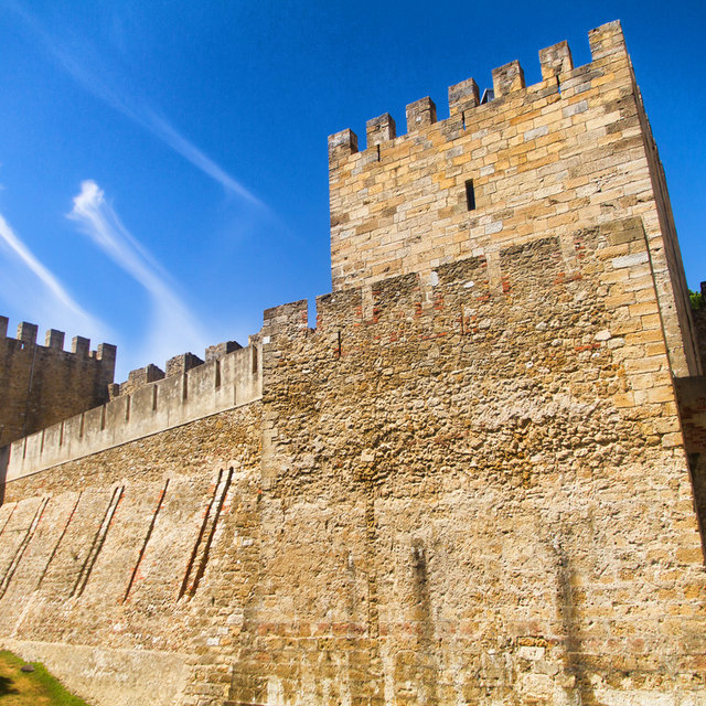 The walls of the São Jorge Castle in Lisbon.