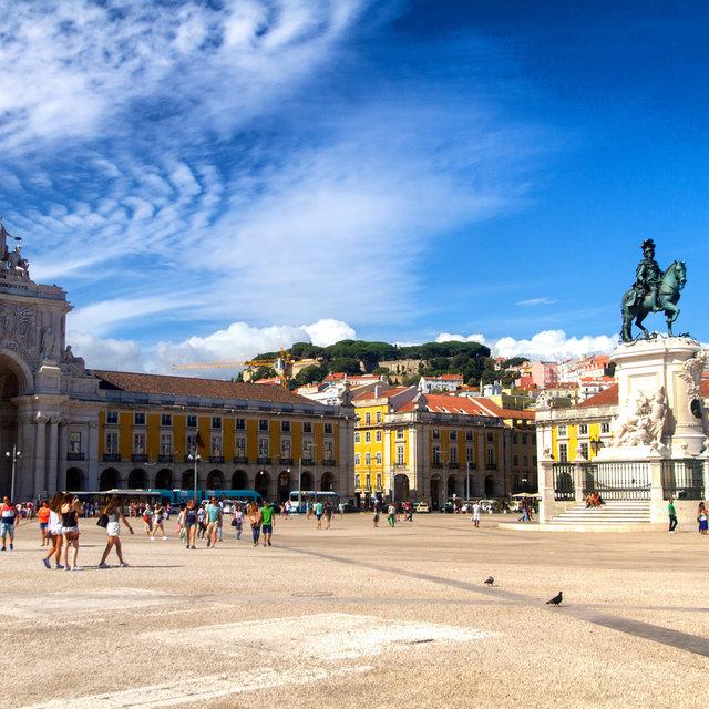 View over the Praça do Comércio with the Rua Augusta Arch and the statue of Joseph I of Portugal.
