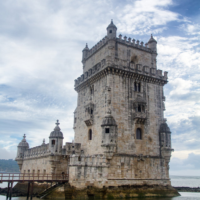 The Belém Tower sitting on the bank of the river Tagus.