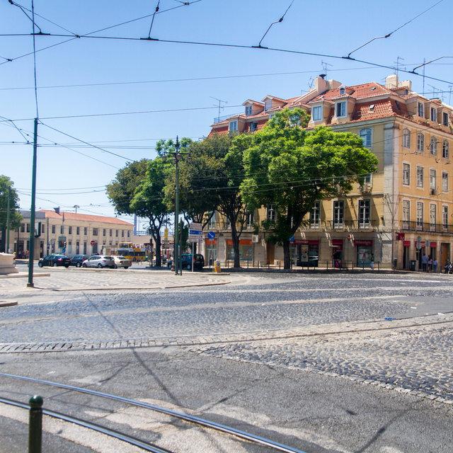 View over the Praça Duque da Terceira in Lisbon.