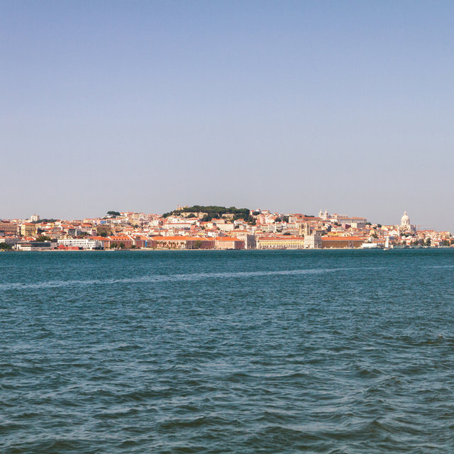 View from Cacilhas towards Lisbon over the river Tagus.