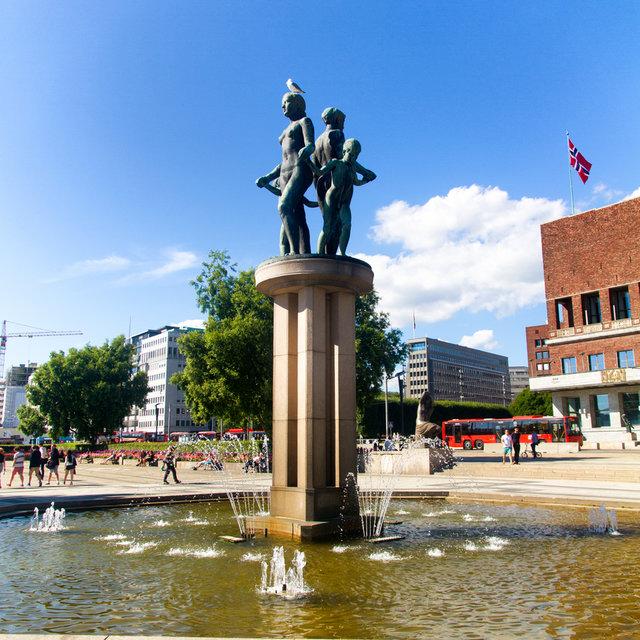 A fountain on Rådhusplassen in Oslo.