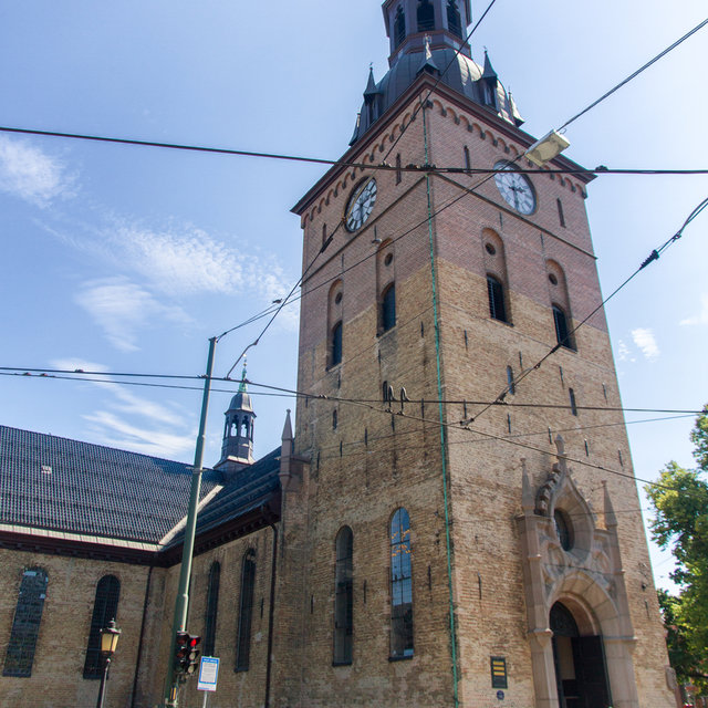 The main entrance and bell tower of the Oslo Cathedral.