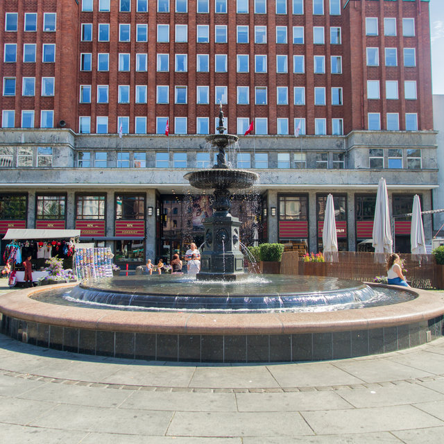 A fountain in front of Folketeatret on Youngstorget in Oslo.