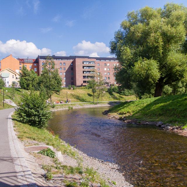 View along the Aker River in Grünerløkka.