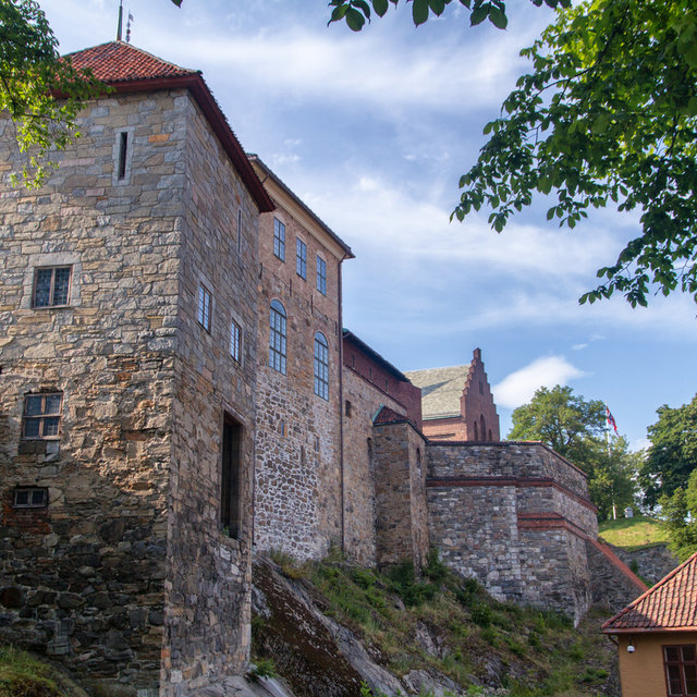 The façade of buildings inside of Akershus Fortress.