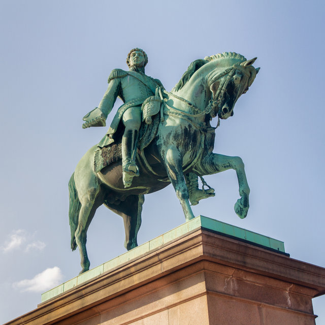 Equestrian statue of Charles XIV & III John in front of the Royal Palace in Oslo.