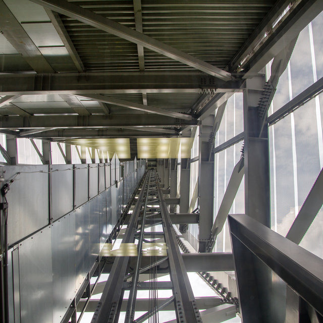 Inclined lift shaft inside the Holmenkollbakken.