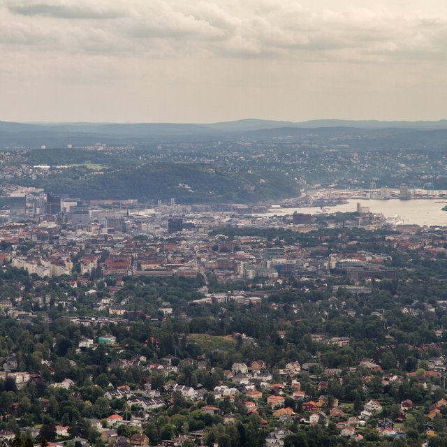 View from the top of Holmenkollbakken over the city of Oslo.