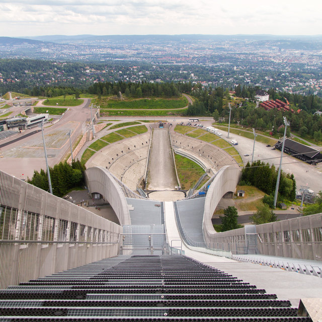 View down the Holmenkollbakken ski jumping hill.