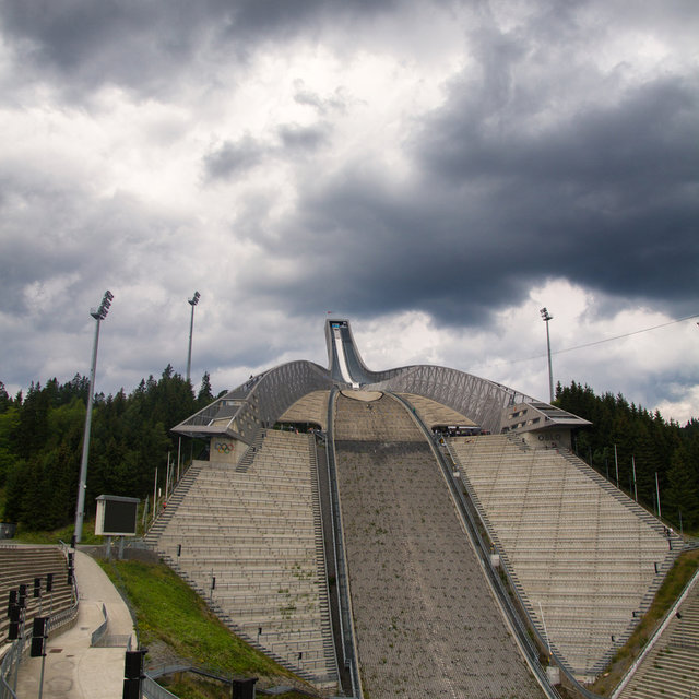 View up the Holmenkollbakken ski jumping hill.