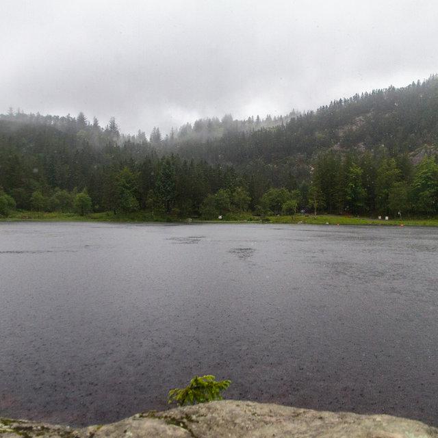 Lake Skomakerdiket on top of Mt. Fløyen in Bergen.