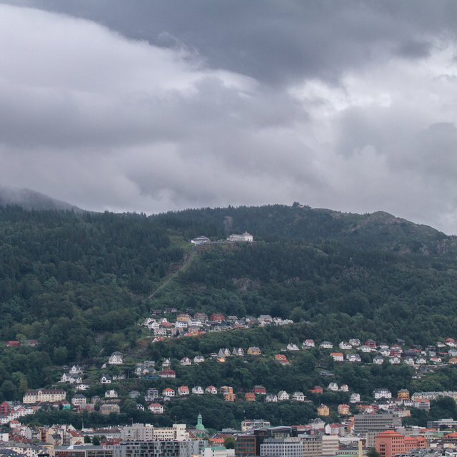 View from Bergen to wards Mt. Fløyen and the Fløibanen funicular.