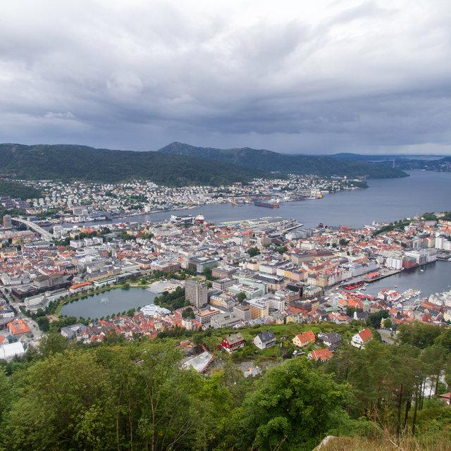 The city of Bergen viewed from Mt. Fløyen.