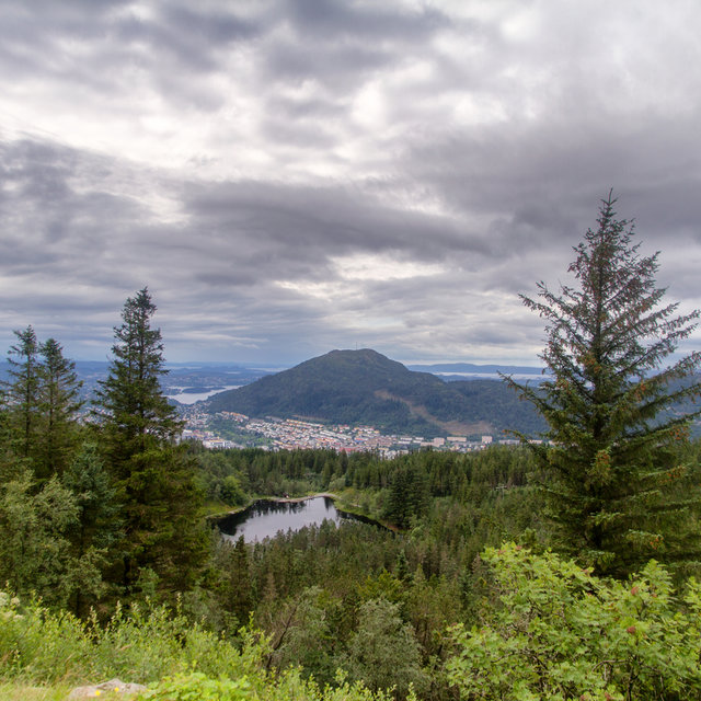 View from the top of Mt. Fløyen over lake Skomakerdiket and Bergen.