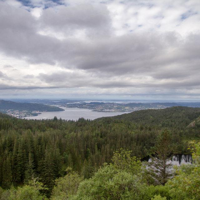 View from the top of Mt. Fløyen over lake Skomakerdiket and Byfjorden.