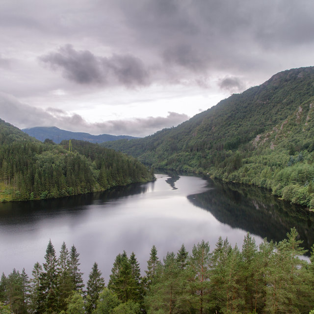 View over lake Svartediket in Bergen.