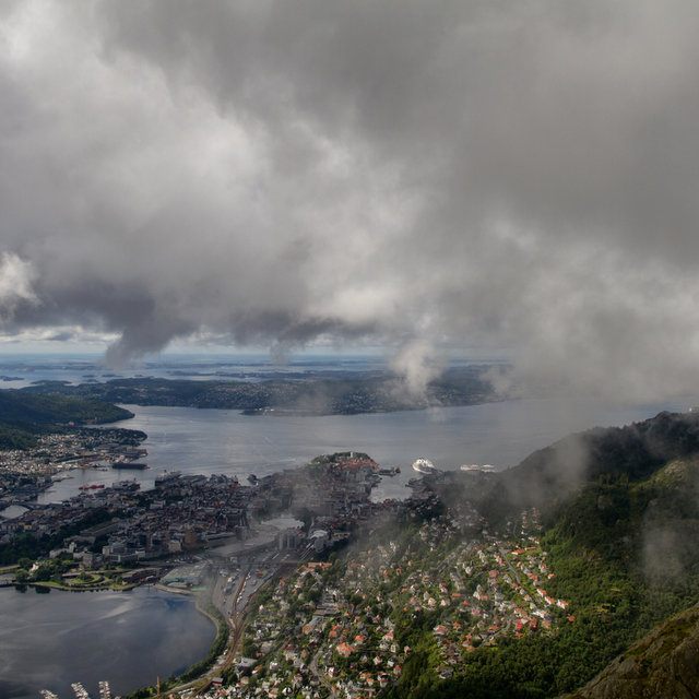 View from Mt. Ulriken towards the cloud covered Bergen city centre.
