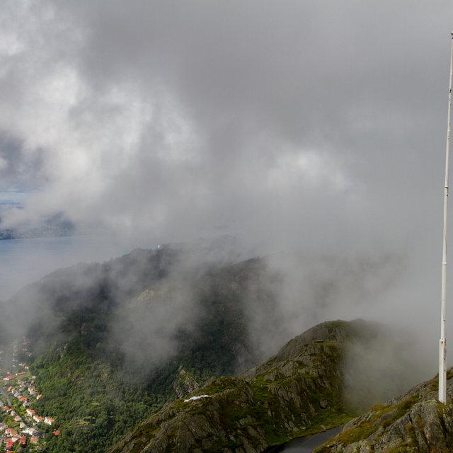 A Norwegian flag in the fog on top of Mt. Ulriken in Bergen.