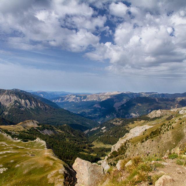 View of the Alps on top of the Col de l'Encombrette.