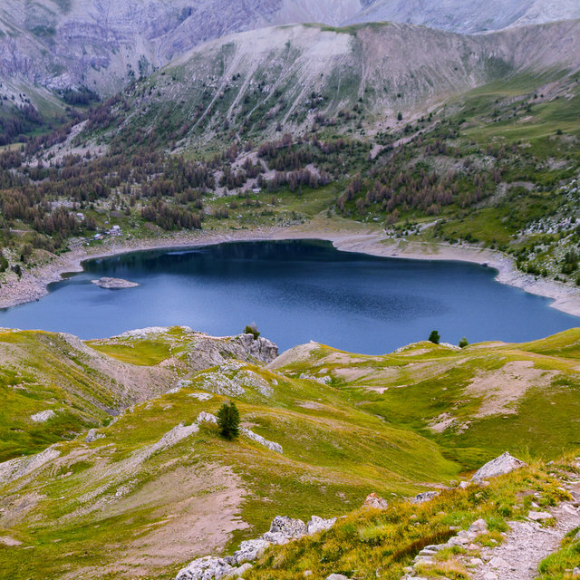 View from the slopes of the Col de l'Encombrette towards the Lac d'Allos.